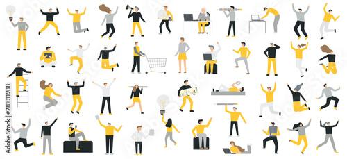 Carta da parati  Set of business people flat icons. Flat style modern