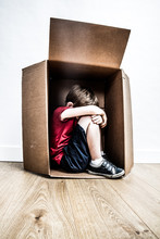 Abused Hunched Child Crying, Seeking For Help From Bullying Childhood