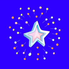 Cute Cartoon Star Icon With Sparkles On Blue Background. Cartoon Blue And Pink Star With Colored Sparkles Icon