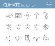 Climate Icon Set. Temperature,...