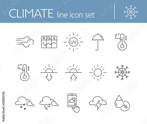 Fototapeta Climate icon set. Temperature, sun, sunshine. Summer concept. Can be used for topics like weather, meteorology, precipitation obraz