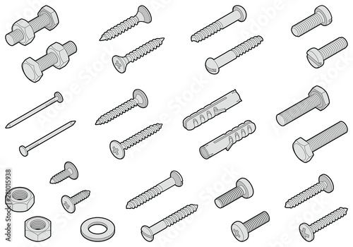 Obraz Screws / nuts / nails and wall plugs collection - vector isometric outline illustration - fototapety do salonu