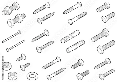 Pinturas sobre lienzo  Screws / nuts / nails and wall plugs collection - vector isometric outline illus