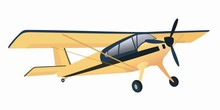 Isolated Illustration Of A Small Airplane, Vector Drawing