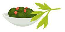 Seaweed Served In Plate In Restaurant Seafood Menu Vector