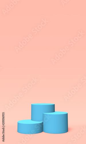 Obraz na plátně  Podium, pedestal or platform blue color on pink background