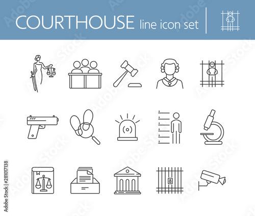 Billede på lærred Courthouse line icon set