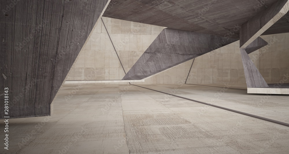 Fototapeta Abstract brown and beige concrete interior. 3D illustration and rendering.
