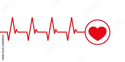 Valokuvatapetti heartbeat cardiography simple graphic isolated on white vector illustration EPS1