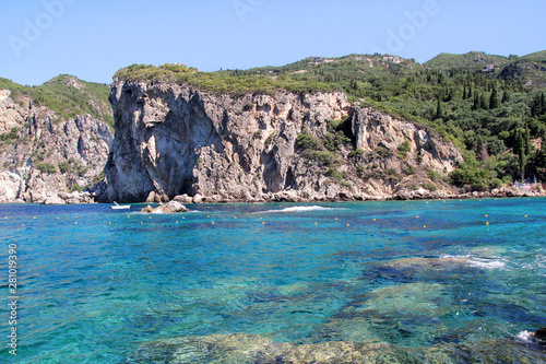 Cote Big stone mountains and rocks coastline as islands in sea or ocean against clear sky landscape. Summer trip. Beautiful Greece. Most beautiful beach. Sea coast and beach beautiful natural horizon.