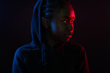 Colorful Portrait Of Cool Woman With Dark Skin Wearing Hoodie