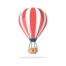Hot Air Balloon With Basket Isolated On Background. Travel, Adventure, Flight In Sky Concept. Vector Flat Design