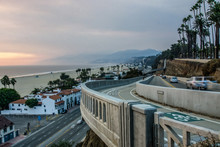Scenes Around Santa Monica California At Sunset On Pacific Ocean