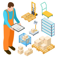 Warehouse Equipment, Trolley, Parcels Isometric Vector Collection. Illustration Of Trolley And Forklift, Storage Isometry Distribution