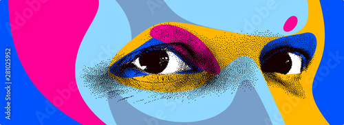 Fotografiet  Looking eyes 8 bit dotted design style vector abstraction, human face stylized design element, with colorful splats