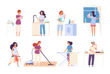 Housewives. Woman Housewife Doing Housework, Happy Mother Cooks In Kitchen, Ironing And Cleaning, Vacuuming. Cartoon Vector Characters. Illustration Of Housewife Mother, Housework Cooking And Wash
