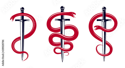 Obraz na plátne Snake and Dagger, Serpent wraps around a sword vector vintage tattoo, Roman god Mercury, luck and trickery, allegorical logo or emblem of ancient symbol