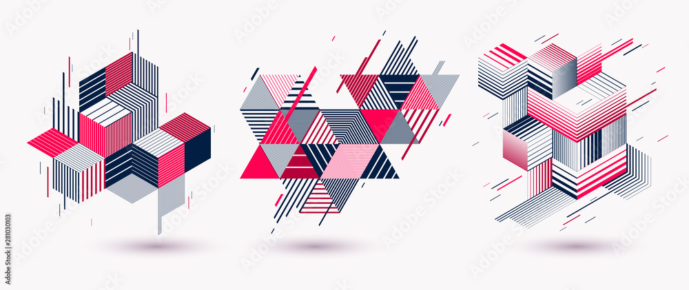 Fototapeta Polygonal low poly vector abstract designs set, artistic retro style backgrounds for ads or prints, covers or posters, banners or cards. Linear 3D triangles and cubes elements.