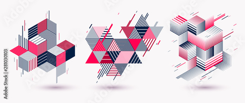 Polygonal low poly vector abstract designs set, artistic retro style backgrounds for ads or prints, covers or posters, banners or cards Poster Mural XXL