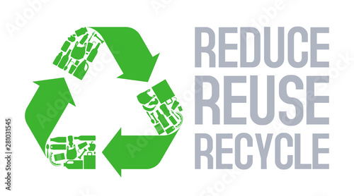 Tablou Canvas Recycle sign with Reduce reuse recycle slogan vector.
