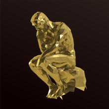Gold Thinker Man On Purple Background. Shiny Metallic Golden Low Poly Vector 3D Rendering