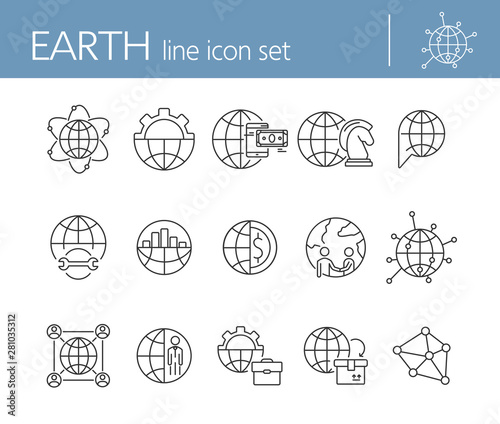 Earth line icon set Wallpaper Mural