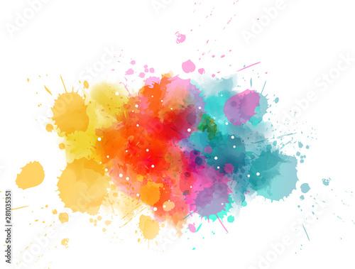 Multicolored splash watercolor blot Canvas Print