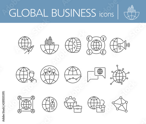 Vászonkép  Global business line icon set