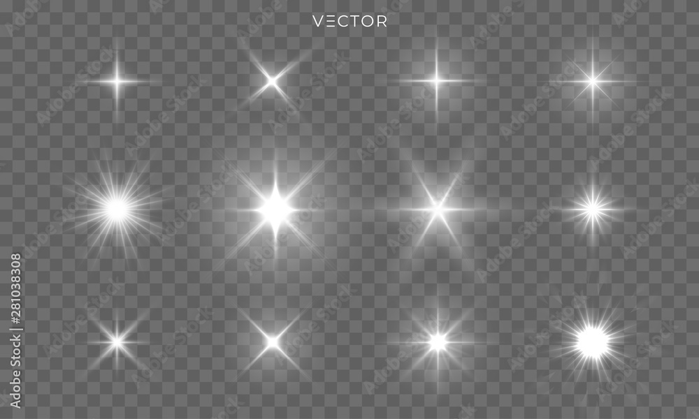 Fototapety, obrazy: Star shines and light glow sparks, vector bright flare sparkles. Star flash effect on transparent background, isolated sun starlight and shiny lens rays set