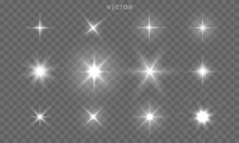 Star Shines And Light Glow Sparks, Vector Bright Flare Sparkles. Star Flash Effect On Transparent Background, Isolated Sun Starlight And Shiny Lens Rays Set