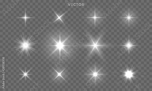Star shines and light glow sparks, vector bright flare sparkles Canvas Print