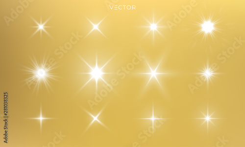 Carta da parati  Star shine, golden light glow sparks, vector bright gold sparkles with lens flare effect