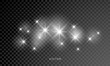 Glowing star lights effect, explosion and stars lens flare. Special sunlight rays effect isolated on transparent background