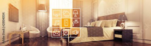 Obraz Elegante Hotel Suite mit Smart Home Steuerung - fototapety do salonu
