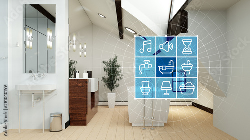 Badezimmer Mit Smart Home Technologie Interface Buy This