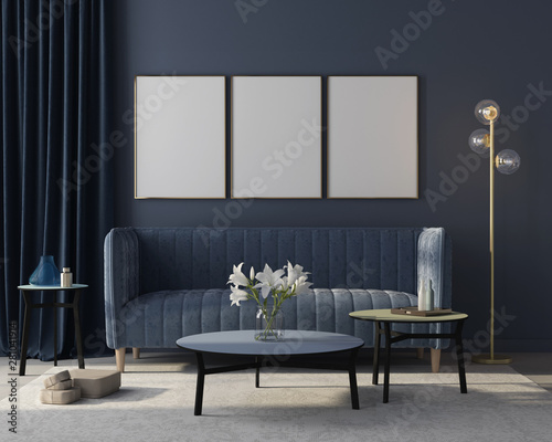 Valokuva  Mock up Interior of the living room in monochrome blue with three posters
