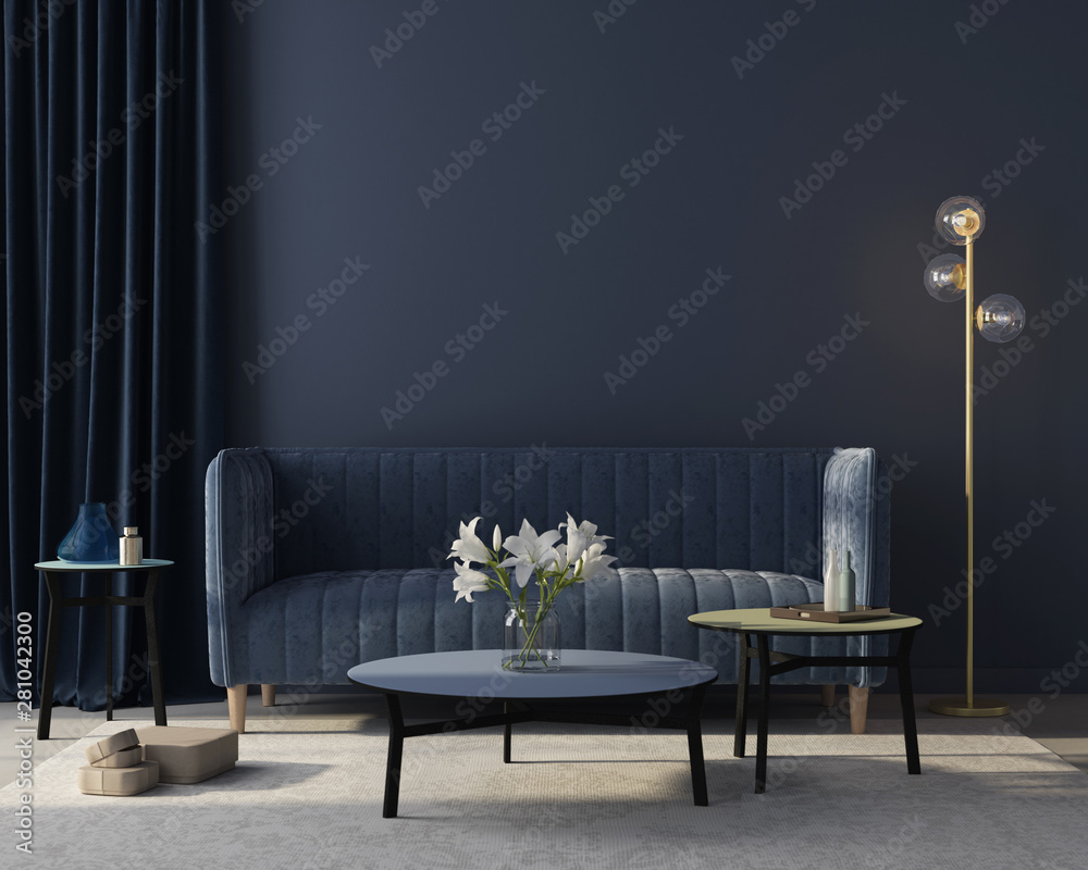 Fototapety, obrazy: Interior of the living room in monochrome blue. 3d render