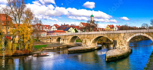 Photo  Beautiful towns of Germany - scenic Regensburg over Danube river