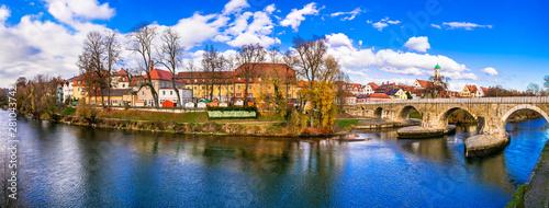 Photo  Landmarks of Germany - beautiful medieval town Regensburg in Bavaria over Danube