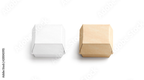 Obraz Blank craft and white burger box mockup set, isolated, 3d rendering. Empty fast food package mock up, top view. Clear portable carton container for cheeseburger or chicken wings template. - fototapety do salonu