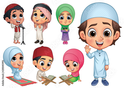 Muslim Children Collection, Vector EPS 10 Canvas Print