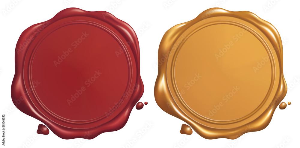 Fototapeta Red and Golden Wax Seal, Vector EPS 10