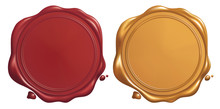 Red And Golden Wax Seal, Vecto...
