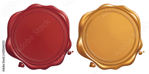 Obraz na plátně  Red and Golden Wax Seal, Vector EPS 10