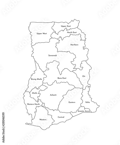 Fotografia  Vector isolated illustration of simplified administrative map of Ghana