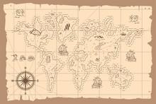Vintage World Map Vector Carto...