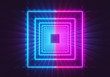 canvas print picture Glowing neon lights square tunnel abstract background. pink and blue vibrant colors. 3d rendering