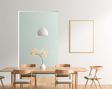 Mock Up Poster Frame In Spacious Modern Dining Room With Wooden Chairs And Table.  Minimalist Dining Room Design. 3D Illustration.