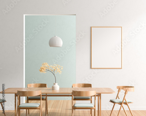Cuadros en Lienzo Mock up poster frame in spacious modern dining room with wooden chairs and table