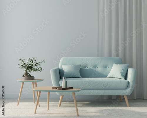 Obraz Living room with a blue sofa and a stylish wooden tables. 3d render - fototapety do salonu